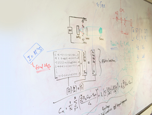 A white board with writing.