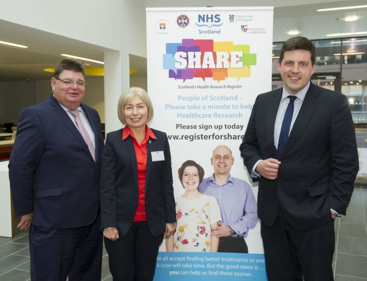 SHARE Scottish Health Register launch at Queen Elizabeth Teaching and Learning Centre. Robert Calderwood, NHS Chief Eexcutive, Prof Anna Dominiczak, and Jamie Hepburn MSP.