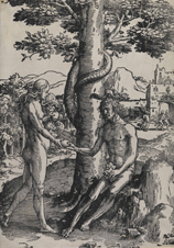Woodcut of Adam and Eve under a tree with the snake.