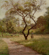 Landscape painting showing a woman standing beside a tree.