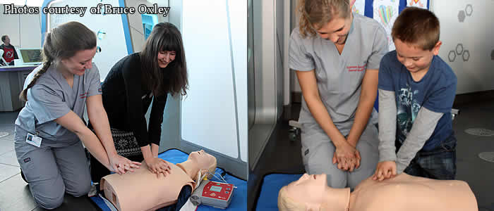 Students training life saving techniques