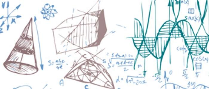 An image showing statistical, mathematical and geometric drawings on a whiteboard