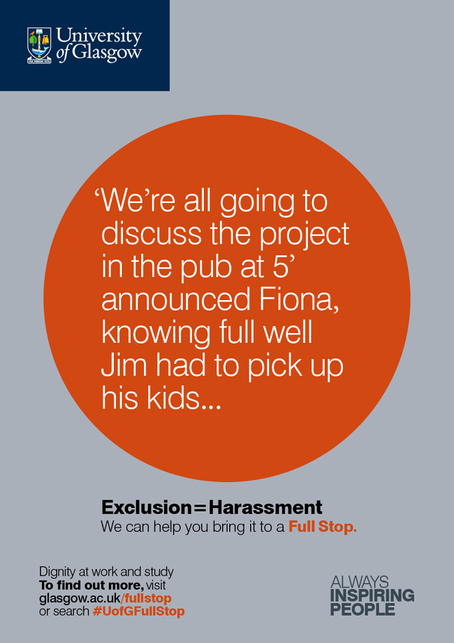 Image of FullStop poster 17 - exclusion equals harassment