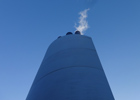 Image of the exhaust stack from the Combined Heat and Power engine (CHP)