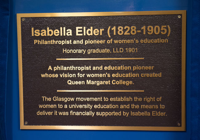Image of the inscribed plaque for the Isabella Elder Building