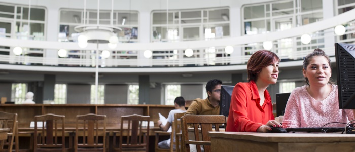 Students on a computer in the Round Reading Room