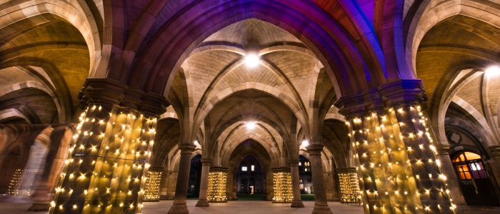 The cloisters arches with lighting