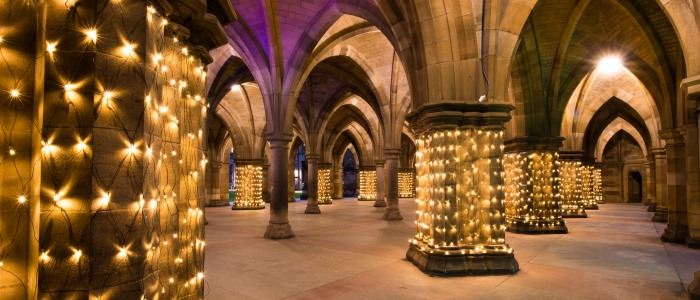 The cloisters with lighting
