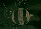 A drawing of a bee on a blackboard