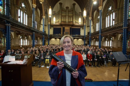 Dr Siobhan McIlvanney receives honorary degree on behalf of her late father, William McIlvanney
