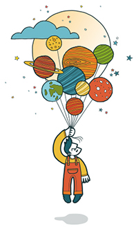 man with planets as balloons