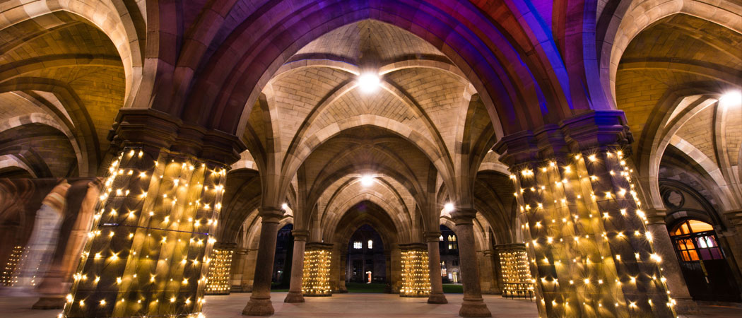 The Cloisters lit up for an event
