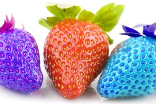 Strawberries, different colours