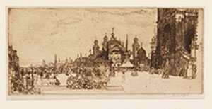 "Muirhead Bone's etching of the Glasgow International Exhibition 1901, the front of the Art Galleries (now ""Kelvingrove""), the area in front,busy with exhibition visitors, viewed from the east side"