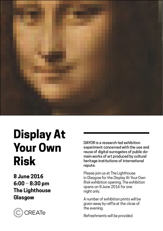 Image of a poster for the Display at your own risk exhibition June 2016