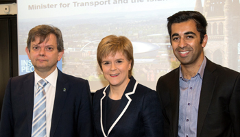 Image of First Minister Nicola Sturgeon with Humza Yousaf and Principal Muscatelli