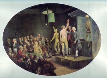 William Hunter lecturing at the Royal Academy of Arts, oil painting by Johann Zoffany, c. 1772. (Royal College of Physicians of London)