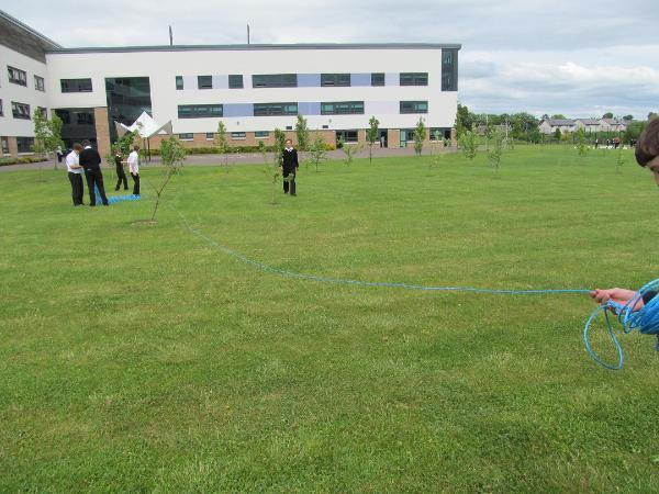 Pupils from Crieff High School laying out the route of Broich cursus, which underlies the school, ditch using blue ropes