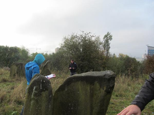 Secondary school children on a visit to the Sighthill stone circle in 2014