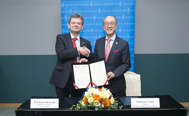 Image of the MoU signing in Hong Kong: Principal Anton Muscatelli left and President Tony Chan right
