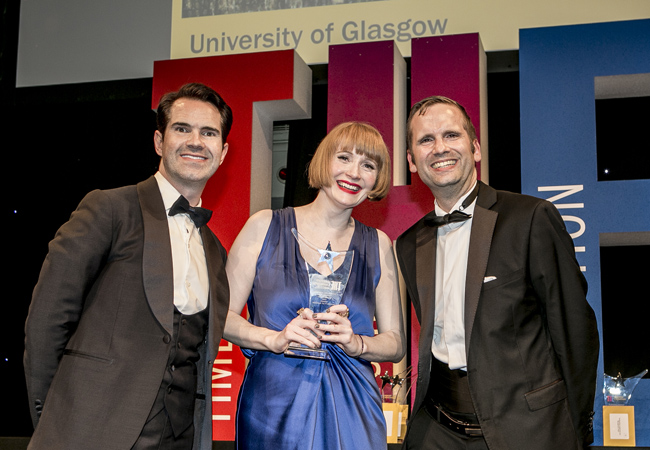 Image of the award presentation to Rachel Sandison at the THELMA awards organised by the Times Higher Education
