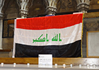 Image of an Iraqi flag in the Memorial Chapel to mark the recent terrorist attack.