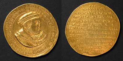 Henry VIII, Supremacy of the Church, gold, England, 1545