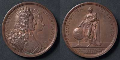 Birth of Prince Charles, Young Pretender, bronze, Italy, 1720
