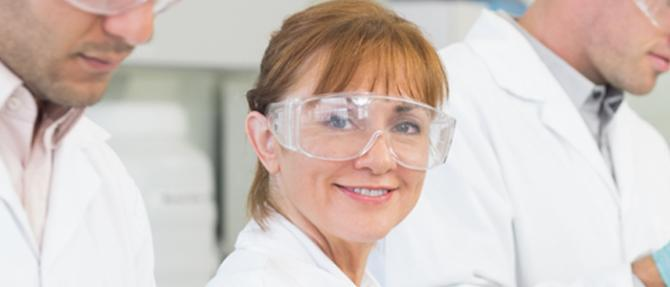 Photo of female researcher in lab.