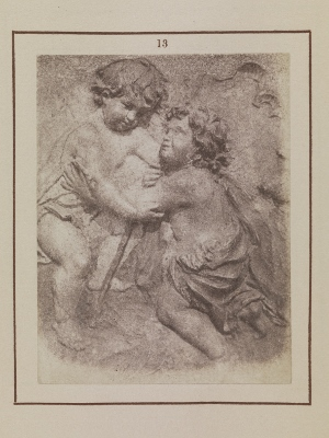 Nicolaas Henneman, Christ Child and Infant St John the Baptist, 1847. Salted paper print from a calotype negative of a polychromed relief sculpture, Circle of Juan Martínez Montañés, c. 1620-50, in the Ford Collection, London. Talbotype Illustrations to the Annals of the Artists of Spain, no. 13, © Museo Nacional del Prado, Madrid