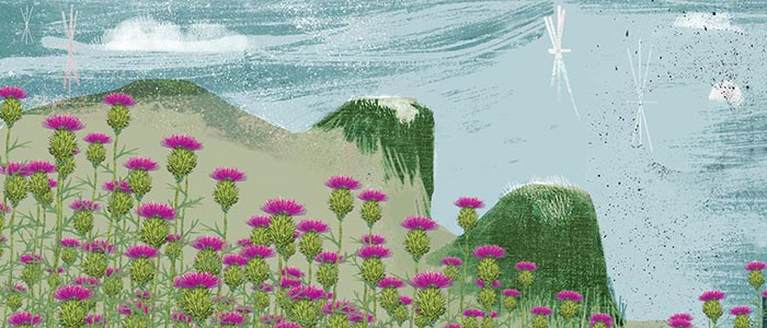 graphic of mountains with thistles