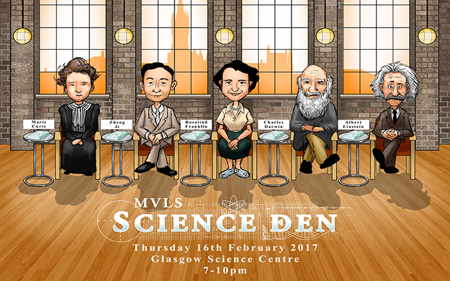 Image of the Science Den 2016 flyer in the style of Dragons' Den