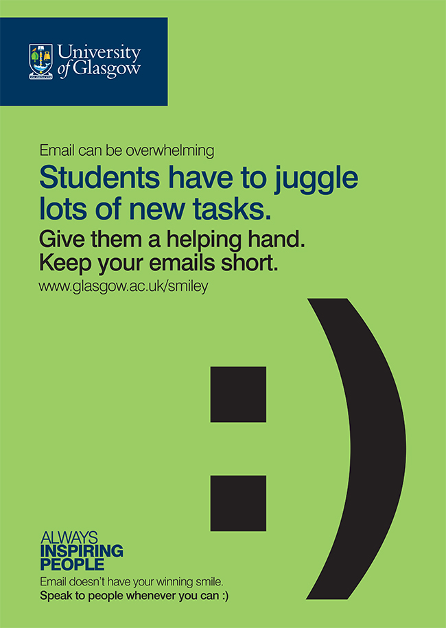 Email campaign poster with the words - students have to juggle lots of new things