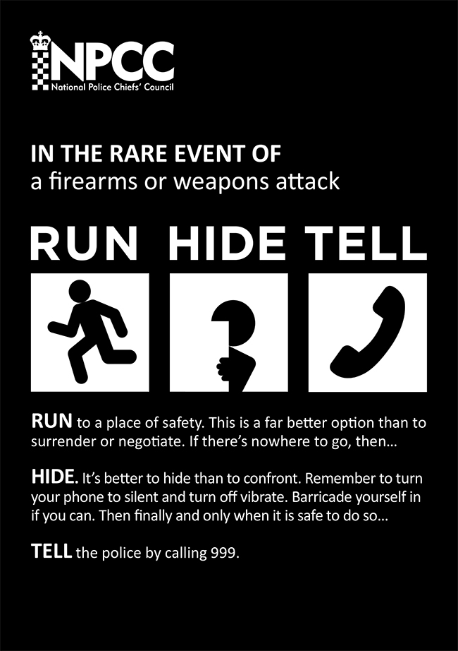 Image of the Stay Safe campaign poster with the words Run, Hide, Tell