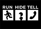 Image of the UK Government and Police campaign logo with the words Run, Hide, Tell