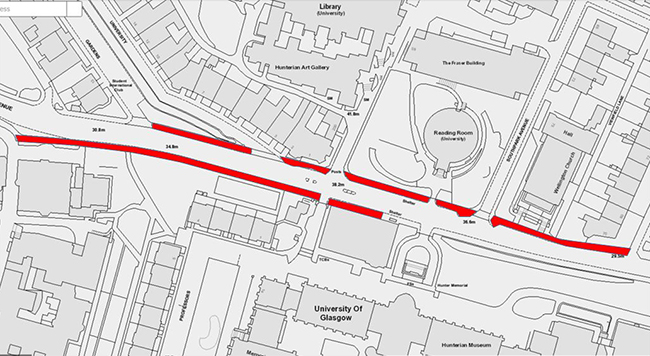 Map of University Avenue area with the sections of footway to be resurfaced highlighted in red