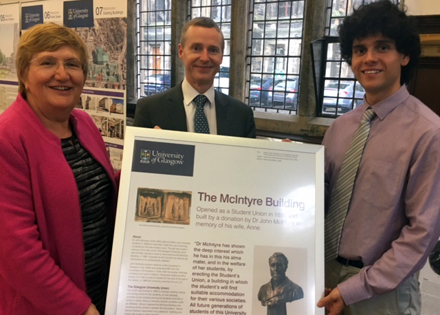 Lesley Richmond, David Newall and Ameer Ibrahim rename the McIntyre Building in October 2016