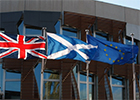 Image of the Scottish, EU and Great Britain flags as depicted on the SPICe website
