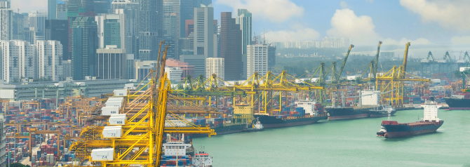 Port of Singapore with skyline in background