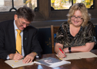 Professor James Conroy, Vice Principal Internationalisation and Professor Kathy Belov, PVC, Global Engagement at the University of Sydney pictured signing the MoU.