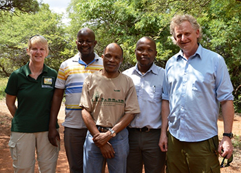 Left to right: Dr Karen MacEachern (Uofg), Mmolotsi Muller Dikolobe (DWNP), Dr Michael Flyman (DWNP), Mmadi Reuben (DWNP), Prof Nick Jonsson (UofG) – at Mokolodi Nature Reserve, near Gaborone in Botswana, March 2016