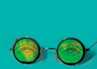 From the cover of Prof Sean Johnston's book 'Holograms', a pair of glasses with holographic eyes in the lenses