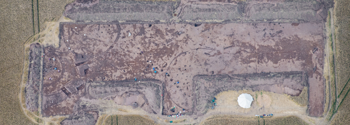 Aerial view of Millhaugh Excavations 2016 (CB16)