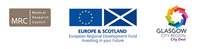 ICE funders logos - MRC, ERDF and Glasgow City Deal
