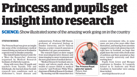 Image of the Meet the Researcher Showcase article in Dundee Courier