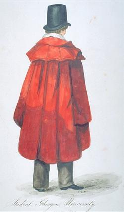 Drawing of a UofG arts student, c1843, wearing a red 'togati' gown.