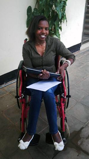 Aline, one of the recipients of a laptop donated via Glasgow ARM in 2016