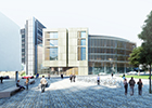 The exterior of the planned University of Glasgow Learning and Teaching Hub - impression courtesy HLM Architects