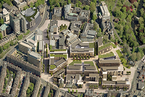 Aerial view of the proposed developments on the former Western Infirmary site - impression courtesy Aecom and 7N Architects