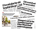 Image of newspaper headlines about the campus masterplan